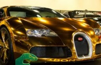 Bugatti Veyron gold wrapped