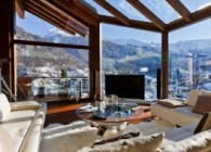 Salon vue panoramique Chalet Zermatt