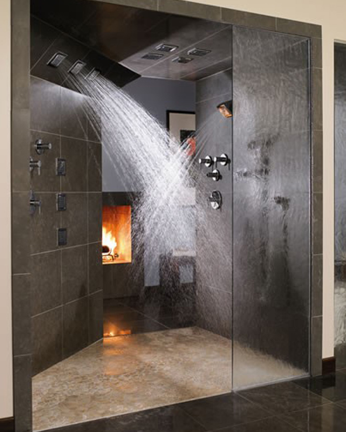 Shower with fireplace