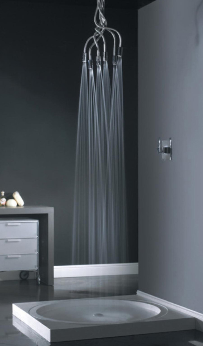 Douche multi jet design gris