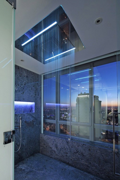 Led rain shower with view