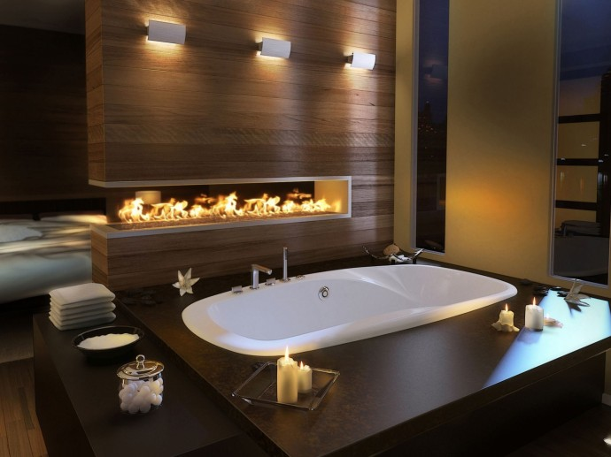 Design bathroom with fireplace