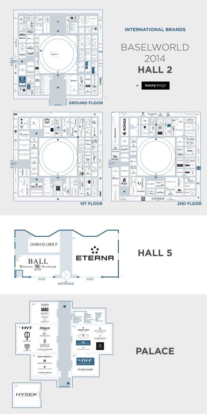 Map Hall 2 et 5 et Palace Baselworld 2014