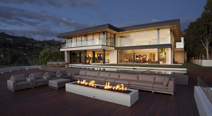 Villa design Sunset Strip Outside Fireplace LA