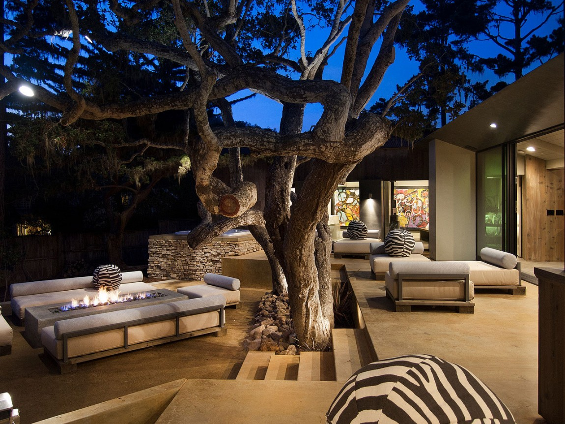 the 40 most beautiful terraces with fireplaces. Black Bedroom Furniture Sets. Home Design Ideas