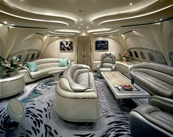 living room with sofa in private jet luxurious - Most Luxurious Living Rooms