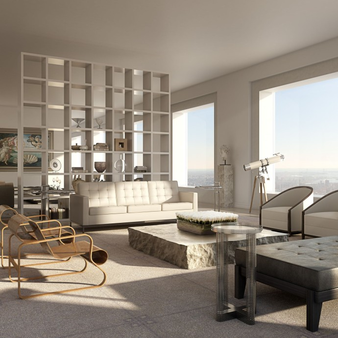 432 park avenue the highest new york apartment for Living room nyc