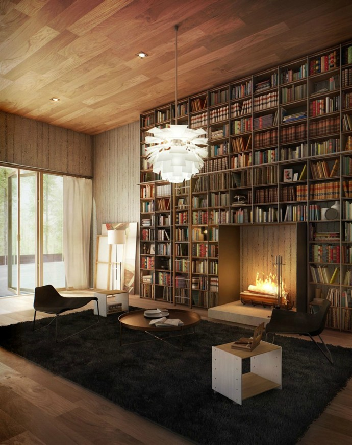 Luxury Home Library Design: Top 20 Most Dazzling Fireplaces !