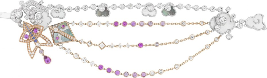 Cerfs-Volants, Van Cleef & Arpels bracelet, pink gold, pink and mauve sapphires, white gold, white and grey mother-of-pearl, diamonds_714786