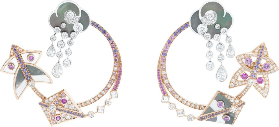 Cerfs-Volants, Van Cleef & Arpels hoop earrings, pink gold, pink and mauve sapphires, white gold, white and grey mother-of-pearl, diamonds_723052