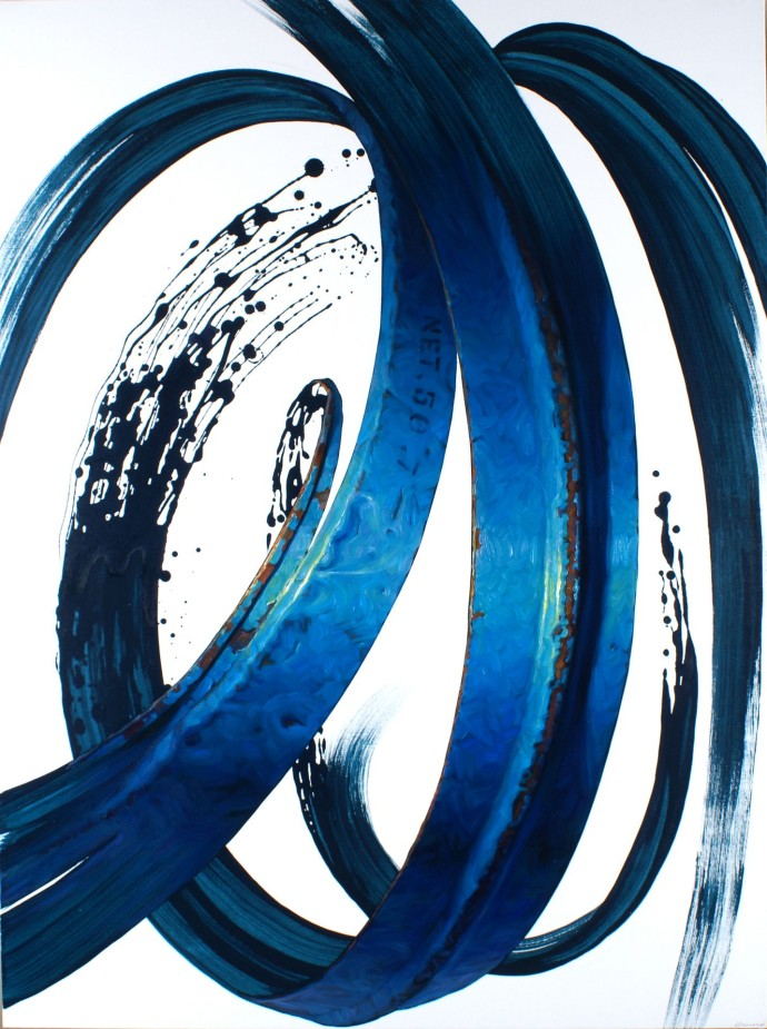 Blue wave oil and acrylic on canvas 130x97cm