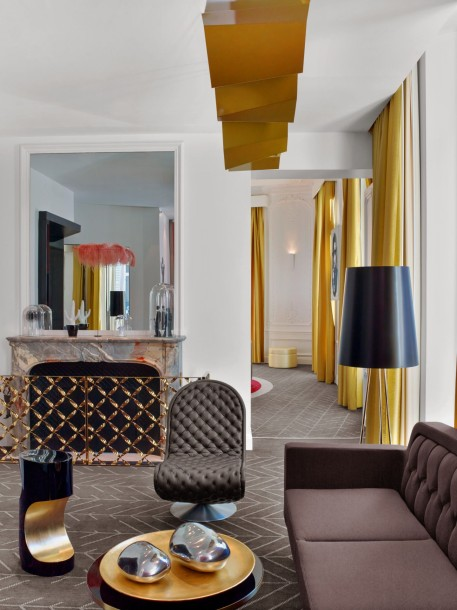 W Paris Opera EWOW Suite Fireplace of the Living Room and Access to the Room