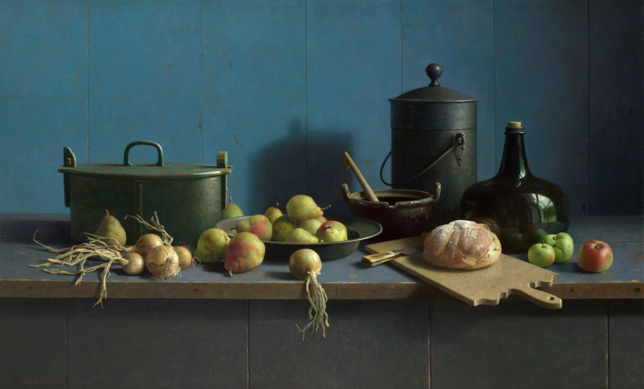Galerie ArtVera's Geneve 23_Henk Helmantel, Still Life with fruit and bread on a blue background, 2013, oil on panel, 122 x 200 cm