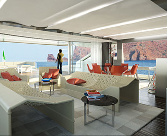Living room Wider 165 Yacht