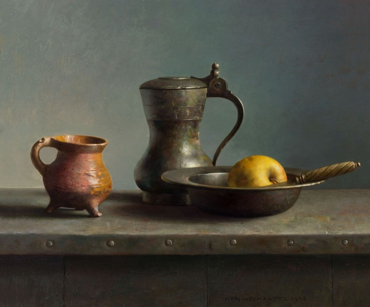 Photo Galerie Artvera's Henk Helmantel, Still Life with a knife and tin dish, 1993, oil on panel