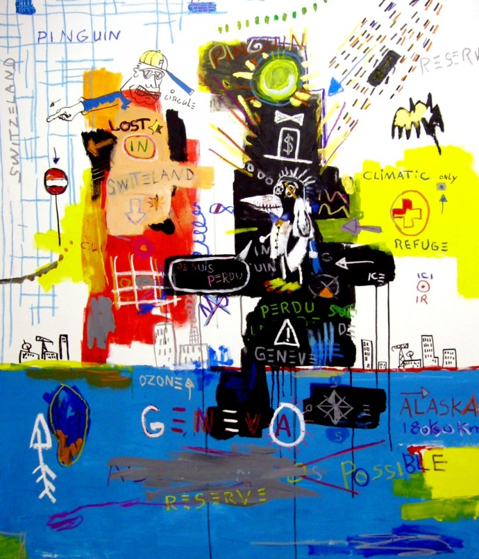 Jean-Luc Sollberger climatic exil mixed media on canvas 147x125cm