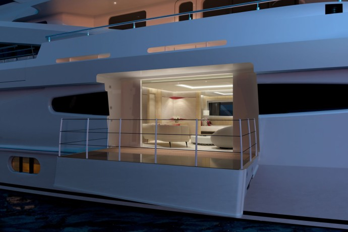 amels yacht LE 188 Owners Balcony INTERIOR