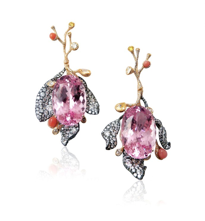 Cindy Chao The Art Jewel - Four Seasons Collection_Kunzite Floral Earrings