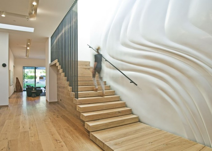 top escalier Stoneridge Residence Los Angeles Photo Michael Weschler Photography