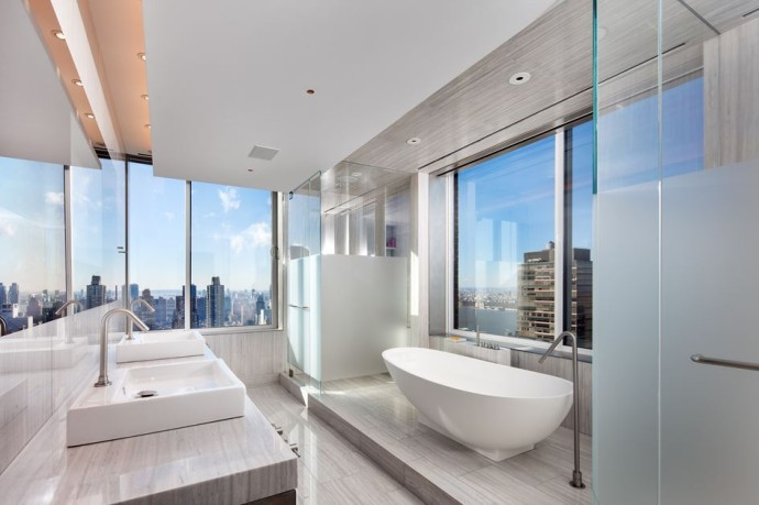 top salle de bains UPPER WEST SIDE PENTHOUSE New York Photo Turettt Collaborative Architects