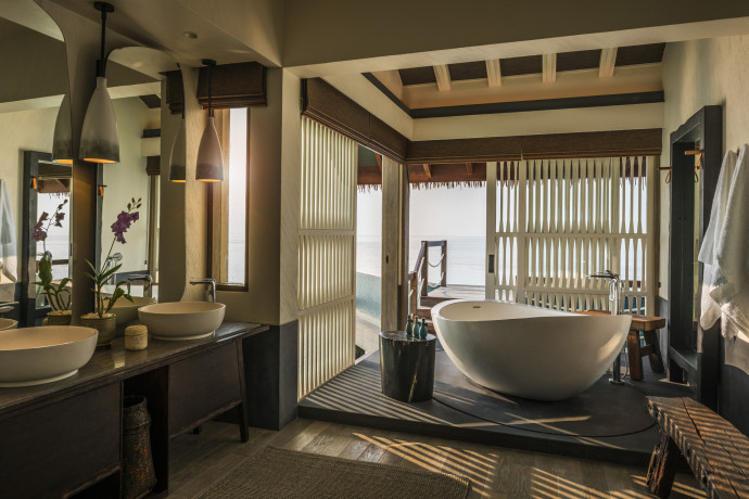 private island voavah four seasons bathroom
