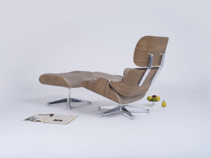 The Conran Shop – Special Edition Eames Lounge Chair and Ottoman in Dark Sand Aniline Leather - White stylised overhead_3bis