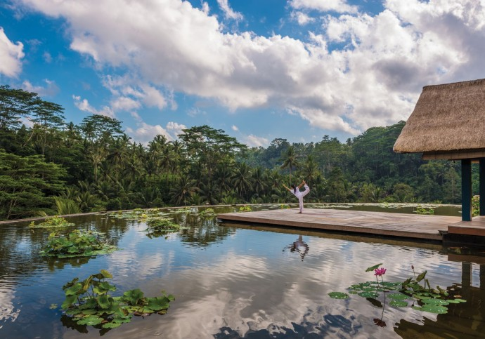 Four seasons Ubud Bali Yoga at Lotus Pond