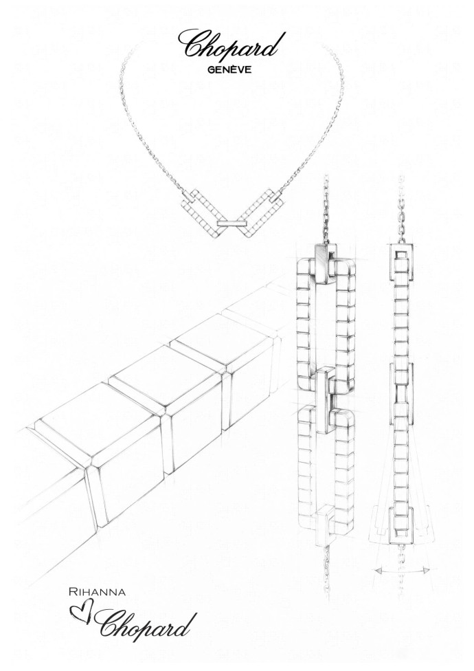 RIHANNA CHOPARD Joaillerie collection sketch