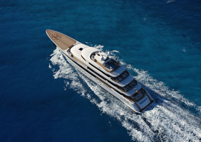 Columbus Yachts megayacht aerial view