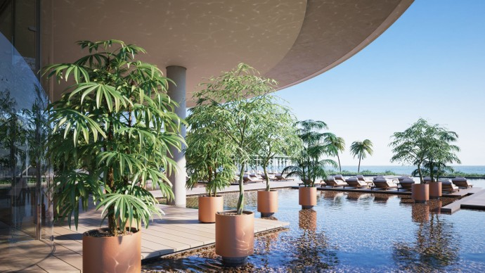 Renzo Piano's first residential project Eighty Seven Park Reflecting Pool