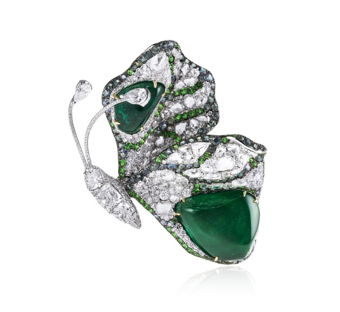 Butterfly Collection_Emerald and diamond butterfly 02