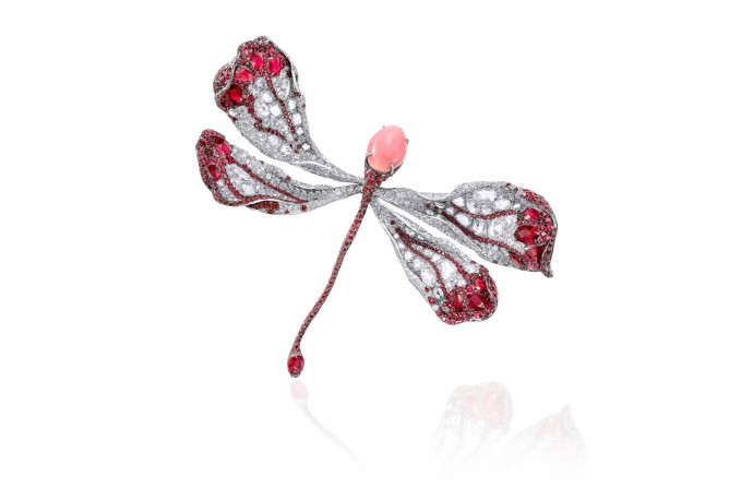 [Image]CINDY CHAO The Art Jewel Dragonfly Brooch_Conch Pearl_Ruby