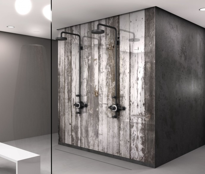 BARN IN THE CITY_showerpanel Antique White Iced Barn wood