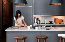 Cuisine design gris or