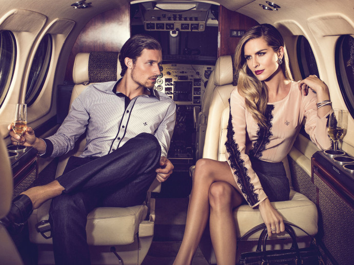 Couple in Private Jet Champagne - Bestof Luxury pictures july 2014