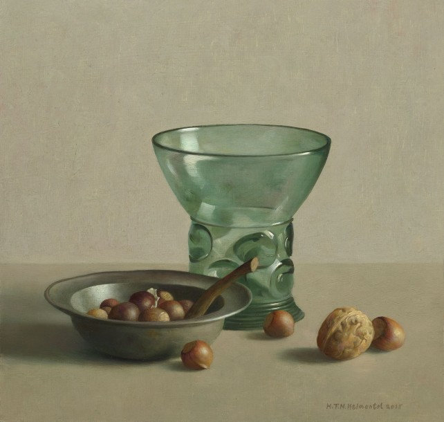 Galerie ArtVera's Geneve 25_Henk Helmantel, Nuts and Dutch rummer glass, 2015, oil on panel, 35.5 x 37 cm