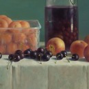 Photo Galerie Artvera's Henk Helmantel, Still Life with cherries, peaches and apricots, 1989, oil on panel, 31 x 48 cm